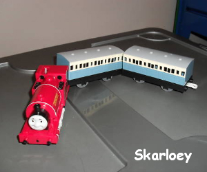 Skarloey with coaches